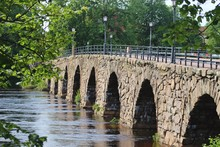 Sweden's Longest Arched Stone Bridge: The Ostra Bron, Or Eastern Bridge, In Karlstad. Built In 1811, It Has 12 Archs And Spans 510 Feet Or 168 Meters Across The River Klaralven.