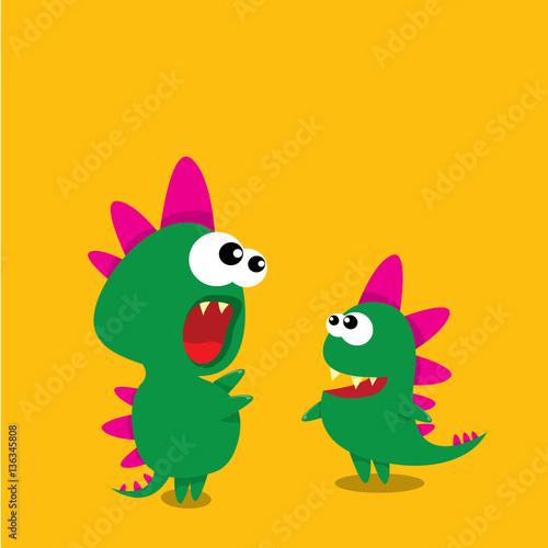 Aluminium Prints Birds, bees Vector cartoon funny dragon. Cartoon Dinosaur.