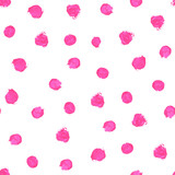 Pink, magenta watercolor hand painted polka dot seamless pattern on white background. Acrylic circles, confetti round texture. Abstract illustration for fabric textile, design greeting cards. - 136348251