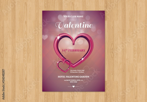 Metallic Heart Valentine S Day Event Poster Layout Buy This Stock