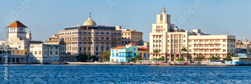 Panoramic view of Old Havana in Cuba with several seaside colorful buildings and Canvas Print