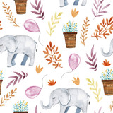 Cute illustration with baby elephant ,floral elements and balloons. - 136349051