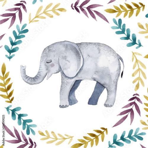 ilustracja-do-pokoju-dzieciecego-ze-sloniem-i-motywami-roslinnymi