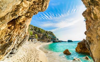 Fototapeta samoprzylepna Beautiful view over the beach in Corfu, Pelion, Mylopotamos