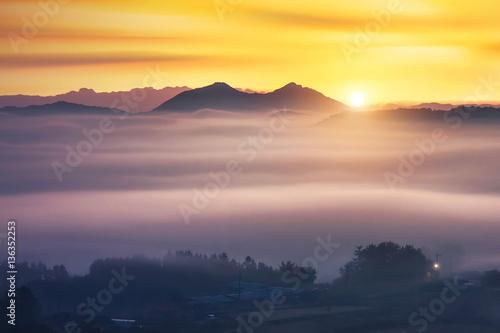 Foto op Aluminium Zalm Mountains and sunrise