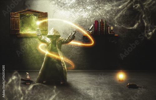 Witch practicing magic in h...