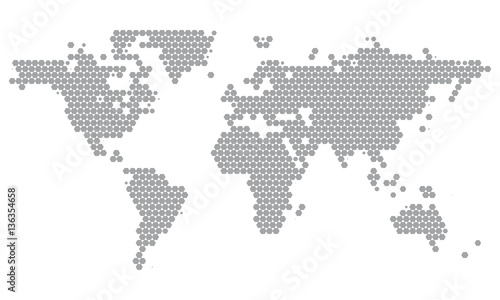 World Map Dotted in Grey Hexagons. Minimal White Grey Clean Look ...