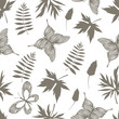 Seamless pattern with hand drawn butterflies and branches.