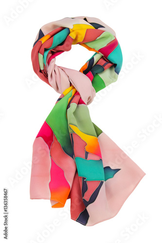 Fotografie, Obraz  Colorful silk scarf, isolated on white background