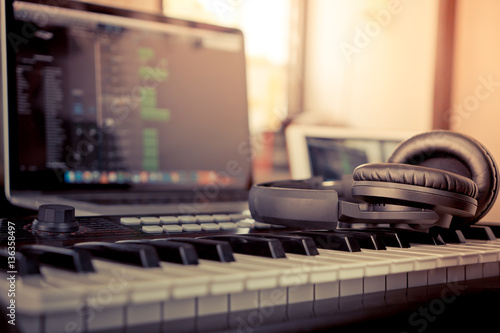 Home Computer music making computer programming - 136358497