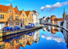Brugge, Traditional Architecture Reflected In Water In Belgium