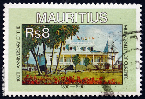 Fotomural  Postage stamp Mauritius 1990 Municipality of Curepipe