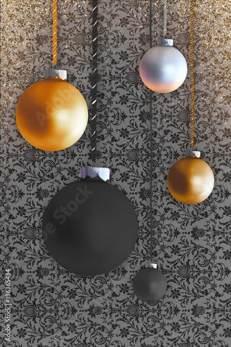 Weihnachtskugeln Kupfer.Weihnachtsbaumanhänger Weihnachtskugeln Kupfer Bronze Schwarz