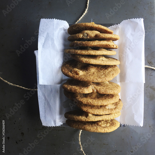 Papiers peints Biscuit Overhead view of cookies on table