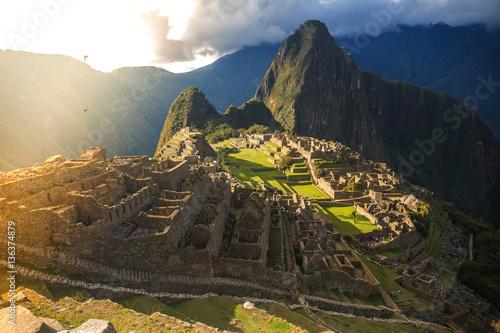 Peru, Machu Picchu on the sunset.