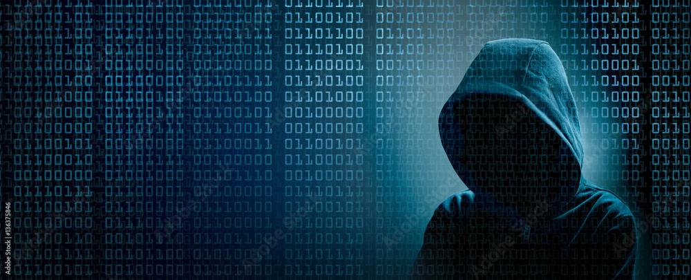 Fototapeta the dark web  hooded hacker banner