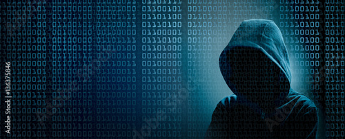Fotografía  the dark web  hooded hacker banner