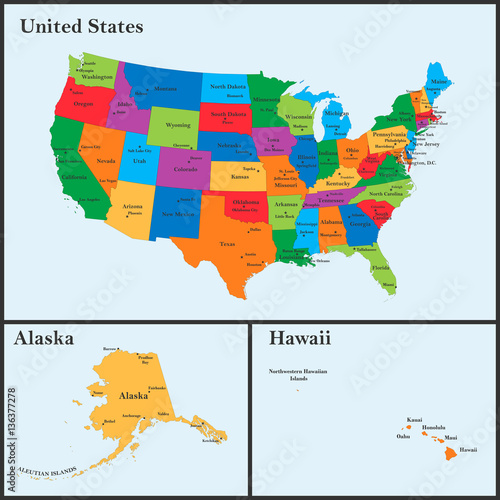 The detailed map of the USA including Alaska and Hawaii. The ...