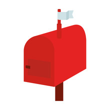 Mail Box Red Isolated Icon Vector Illustration Design
