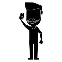 Man With Mustache Beard Using Smartphone Pictogram Vector Illustration Eps 10
