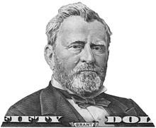 US President Ulysses Grant Portrait On Fifty Dollar Bill Macro Isolated, United States Money Closeup