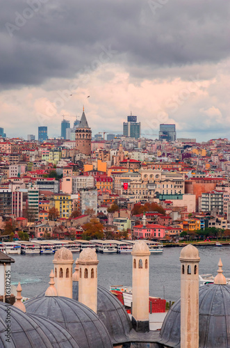 Aluminium Prints Turkey Panoramic view of Galata tower in Istanbul, Turkey