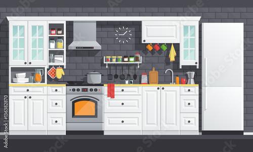 Flat Kitchen Room Vector Illustration Indoor Kitchen Interior Set