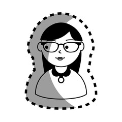 sticker with half body woman monochrome with long hair and glasses vector illustration