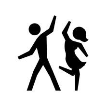 Black Silhouette Pictogram Couple Dancing Vector Illustration