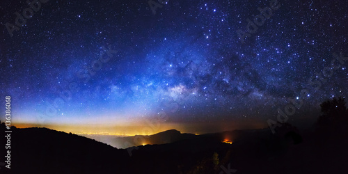 Panorama Milky Way Galaxy at Doi inthanon Chiang mai, Thailand.