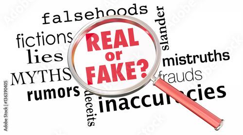 Fotografija Real or Fake Magnifying Glass Lies Wrong Information 3d Illustra