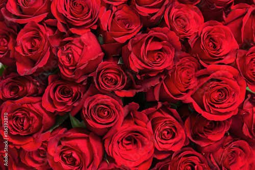 Colorful flower bouquet from red roses for use as background. Closeup. #136392870