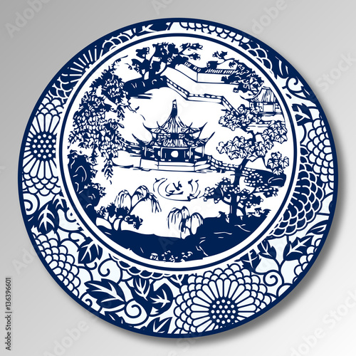 Fényképezés  Chinese Traditional Blue And White Porcelain, A Chinese Garden