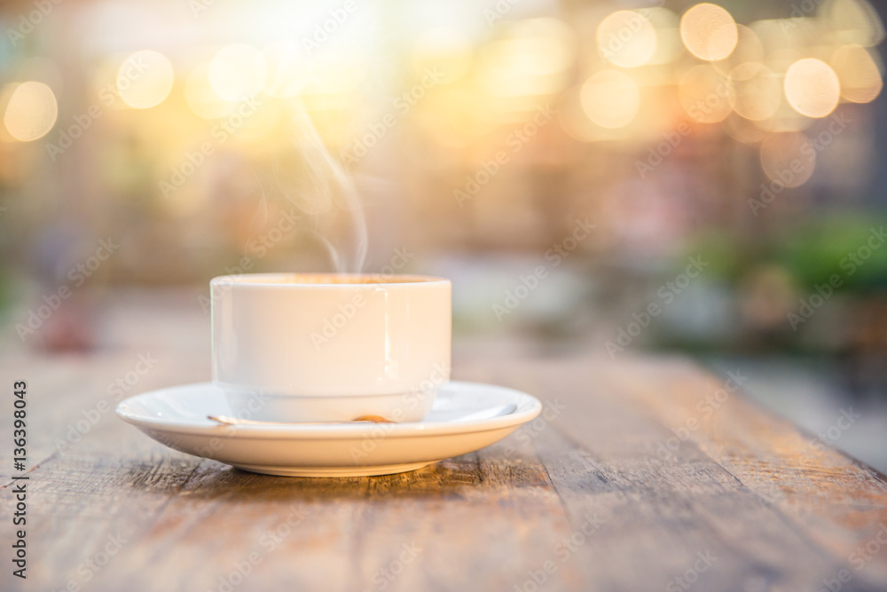 Fototapety, obrazy: smoke hot drink coffee cup in the morning on wooden table.