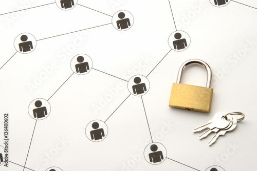ソーシャルネットワークイメージ―情報の保護 Wallpaper Mural
