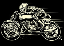 Hand Drawing Of Skull Riding V...