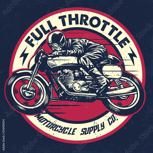 Stampa su Tela hand drawing of man riding a classic cafe racer motorcycle
