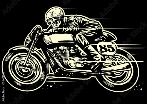 Obraz na plátne Hand drawing of skull riding vintage motorcycle
