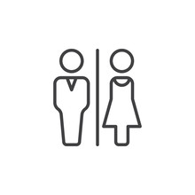 Man And Woman Toilet Line Icon, Outline Vector Sign, Linear Pictogram Isolated On White. WC, Water Closet Symbol, Logo Illustration