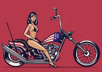 Fototapeta na wymiar Vintage hand drawing girl pose on a motorcycle