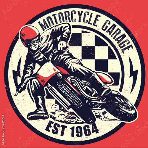Fotomural VIntage motorcycle garage design with dirty texture