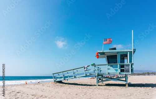 Baywatch tower on a Venice beach in Los Angeles USA Wallpaper Mural