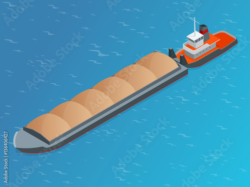 Fotografia  Isometric Barge on a River