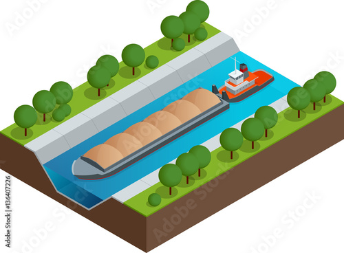 Fotografering Isometric Barge on a River