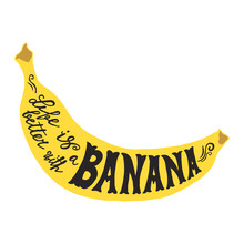 Hand Drawn Illustration Of Isolated Black Banana Silhouette