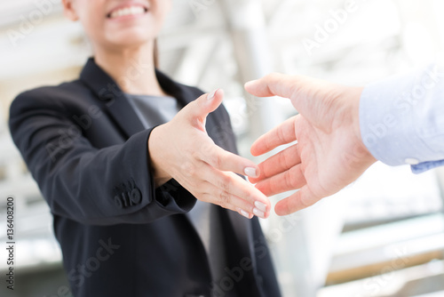 Fotografie, Obraz  Young businesswoman going to make handshake with a businessman