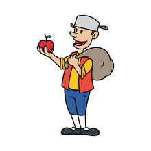 Johnny Appleseed Cartoon Vecto...