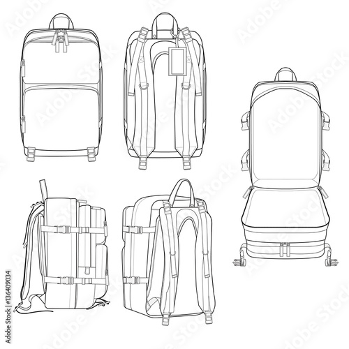 Incase City Backpack vector illustration flat sketches template ...