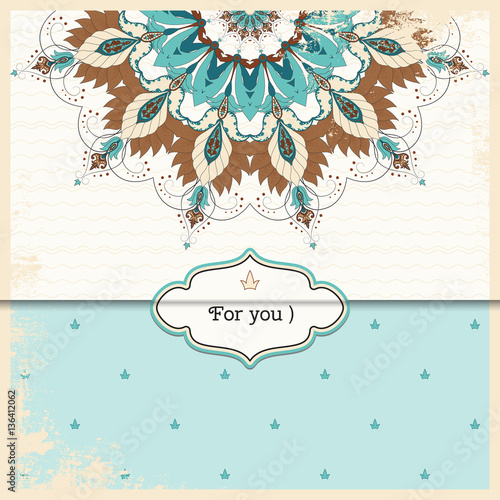 Tuinposter Abstract bloemen Vector envelope for invitations or congratulations. Oriental floral pattern on vintage background. Shabby surface.