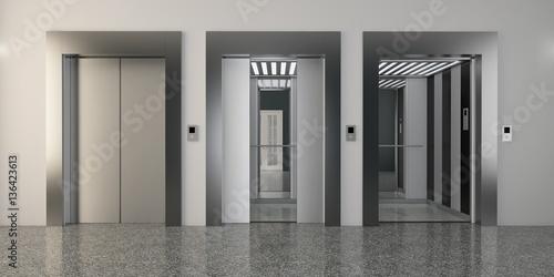 Photo  Modern metal elevator with open doors, hall interior